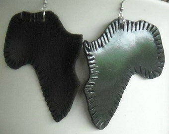 Black Leather Earrings-Africa