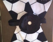 READY TO SHIP- Soccer leg warmers and matching black flower headband