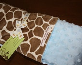 Baby Boy Light Giraffe and Light Blue Minky Blanket 30 x 36 READY TO SHIP