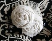 Bridal Head Piece....Bridal Fascinator...White Rosette Hair Clip....Bridal Hair Piece...white..cream..ivory..CHARLIE