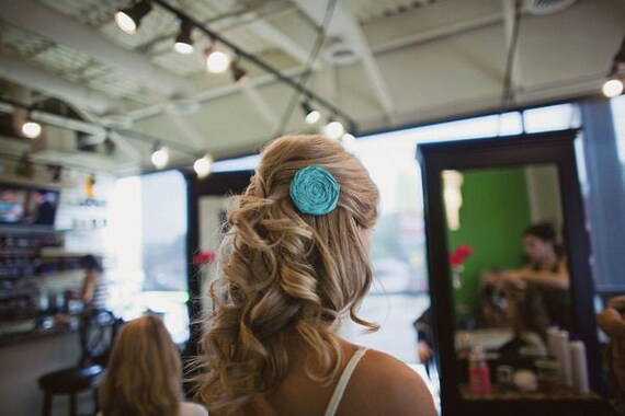 Bridal Hair Clip...Bridal Hair Piece...Bridal Head Piece...Bridal Rosette Clip...Flower Hair Clip..Hair Clip...blue...Tiffany