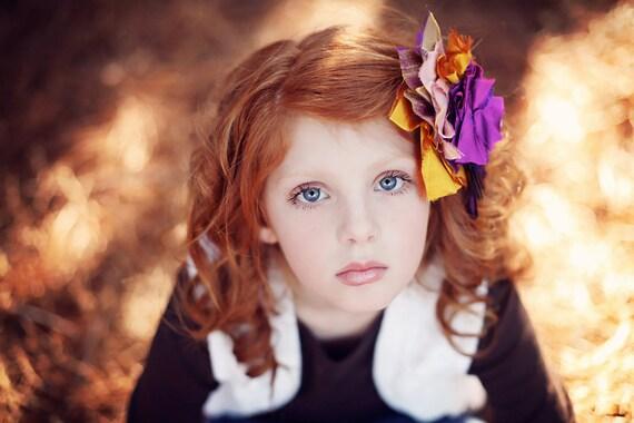 Fabric Flower Hair Clip...Flower Hair Clip...Flower Fascinator...Feather Fascinator..Hair Clip..Flower Clip.purple..yellow..pink..ERICA