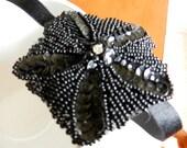 Black Russian- Black Beaded Applique Headband