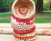 3 Mini Eco Baskets- Red, Yellow, Beige
