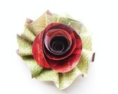 Handmade Upcycled Red Rose Hair Clip- FREE shipping with two or more items