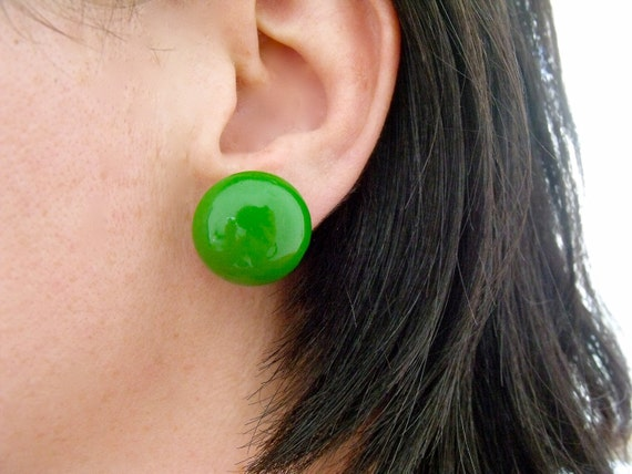 Vintage 1950's Round Green Earrings