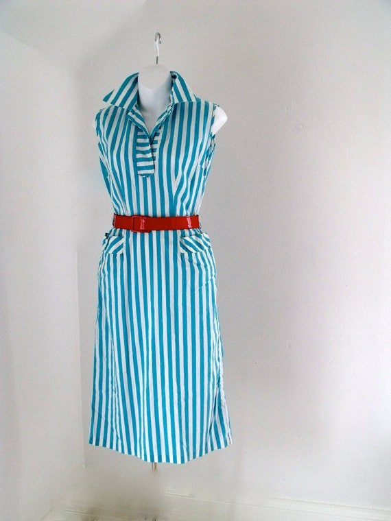 Vintage 1950's Striped Nautical Dress Size Small