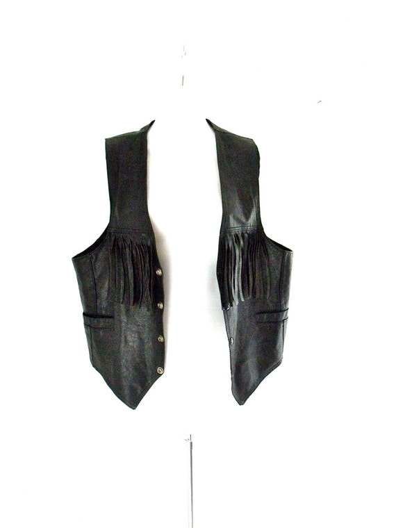 Vintage Leather Tasseled Biker Vest