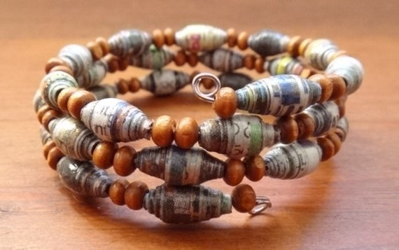 Upcycled Paper Bead Newspaper and Wooden Bead Memory Wire Bracelet Multicolored - Paper Bead Bracelet - Newspaper Jewelry- Recycled Jewelry