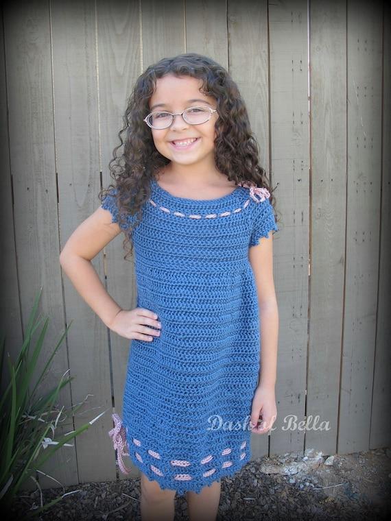 Girls Matching Vintage Twist on the Classic Navy Girls Dress Size Small Crochet Pattern