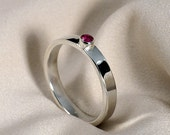 Faceted Ruby Ring in Sterling Silver