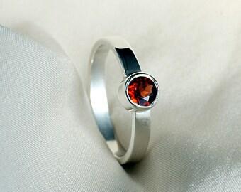 Red Garnet Ring in Sterling Silver