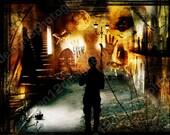 "Fine Art-Digital Collage Artwork 8x12 ""Dream Observer"" Metallic Print"
