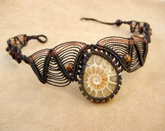 Ammonite Necklace Choker in Black Micro Macrame with Tiger Eye