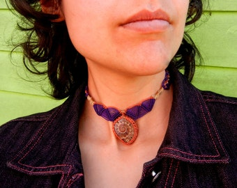 Ammonite Necklace Choker in Purple and Orange Micro Macrame Tribal Mod