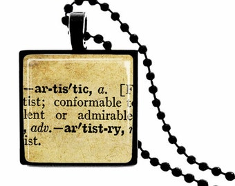 Artistic Definition METAL FRAMED Glass Tile Necklace  INCLUDES Chain