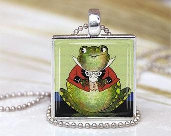 Dapper Froggie METAL Framed Glass Tile Necklace INCLUDES Chain