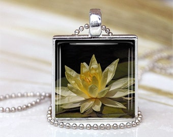 Lotus of Tranquility -   METAL Framed Glass Tile Necklace INCLUDES Chain Yoga