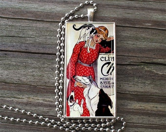 "Clinique Cheron -  Veterinarian Glass Tile Necklace inside Metal Framed Bezel INCLUDES 24"" Chain"
