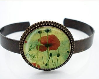 Fine Photography RED POPPIES Antiqued Brass Cuff Bracelet