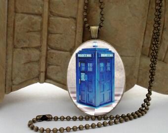 Blue UK Police Box Antiqued BRASS Setting Necklace Pendant