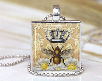 Queen BEE Mom Glass Tile Necklace Metal Setting INCLUDES Chain Mother