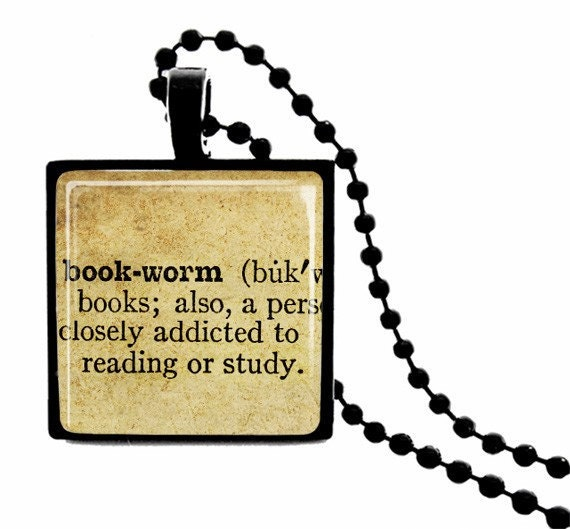 Bookworm Definition METAL FRAMED Glass Tile Necklace  Includes Chain