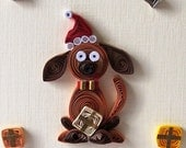 Quilled Cute dog FOR CHILDREN - Christmas Greeting card handmade card funny envelope holidays