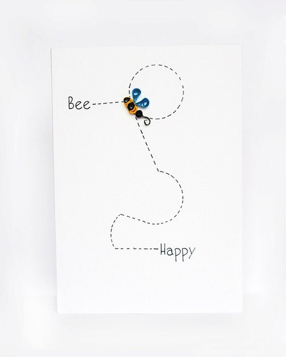 Bee Happy - quilling greeting card handmade bee