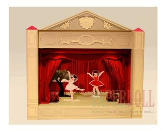 paper STAGE, printable toy, paper doll house , ballerina, downloadable party printable toys, diy kit, ballerina set. ballerina party toys