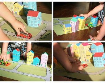 paper toy ''city'', printable paper doll house, paper doll, toy , paper kit,kids, downloadable party printable toys