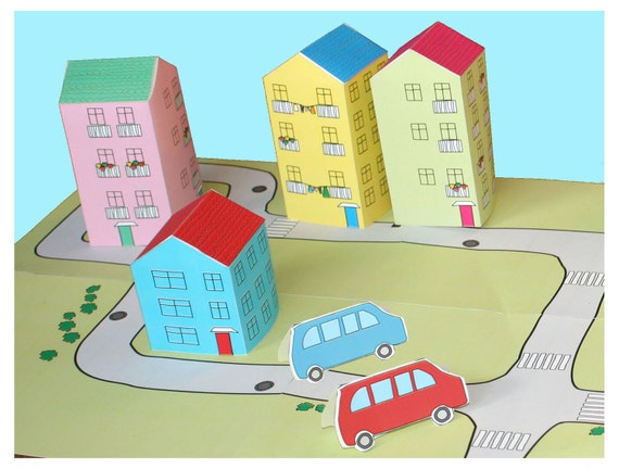 PAPER HOUSE and cars, printable toy paper doll houses , paper cars diy kit, kids toys, paper kit printables