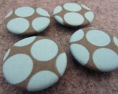 Fabric Covered Button Magnets, Grey and Light Blue Polka Dot Pattern