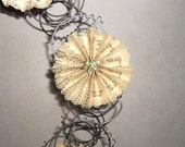Recycled Bed Spring Wreath with Magnetic Sheet Music Pinwheels/Flowers