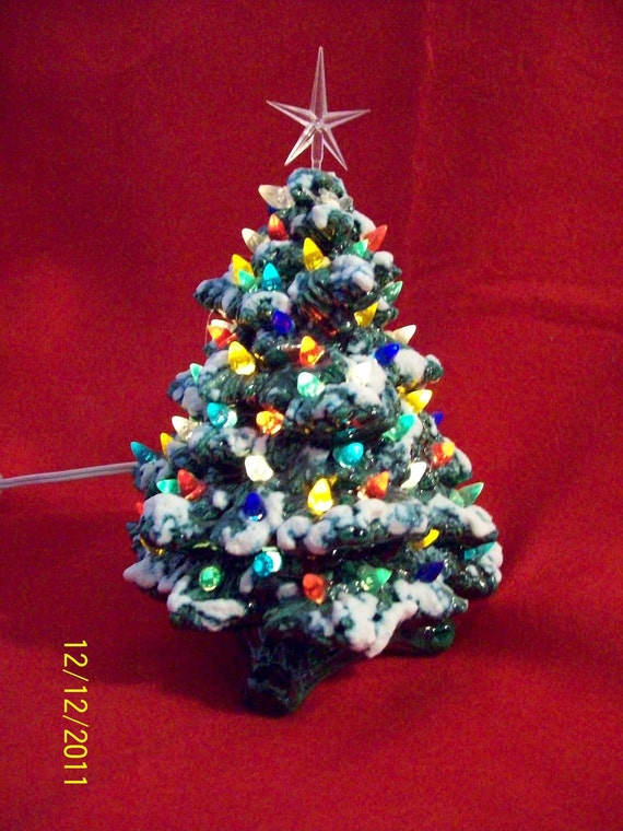 "10"" green lighted Victorian ceramic Christmas tree"
