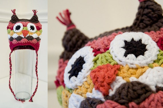 Ophelia and Otto Owl Crocheted Hat - NB, XS, or Small, 0-12 months - made to order