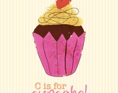 C is for Cupcake print
