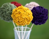 Five Flower Decorative Balls in Mustard,Olive,Tan,Burgandy,and Plum