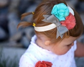 Ingrid Flowers,Rosette, and Bow Headband in Burnt Coral, Spearmint, Grey, and Ivory All Sizes