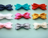 Chic Felt Bow Hair Clips 2.5 Inches- CHOOSE 4 Clips- In Top Nine Colors