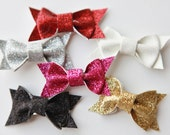 Glitter Glam Tiny Bows Set of 6: Choose from Nine Colors