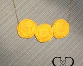 Reserved for Rachel - Rolled Flower Necklace - Yellow