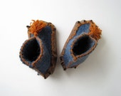Moccasin Style Slippers - Felted Kids Slippers - Warm Hypoallergenic Slippers