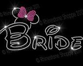 Disney Wedding BRIDE Rhinestone Transfer Minnie Mouse Ears