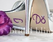 I Do Shoe Stickers Purple and Crystal Clear with Ring For Your Wedding Shoes