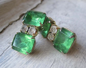 Upcycled Green Rhinestone Earrings