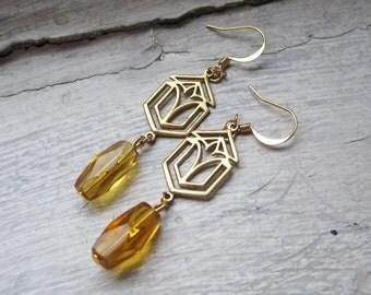 Art Deco Yellow Earrings