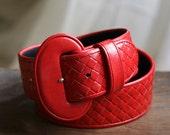 Red Leather Liz Claiborne Belt Sz S