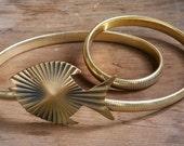 Vintage Brass buckle fish belt Sz S