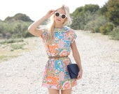 VTG 60s Bright Psychedelic Floral Mini Dress w/ Peter Pan Collar S/M